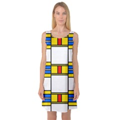 Colorful squares and rectangles pattern Sleeveless Satin Nightdress