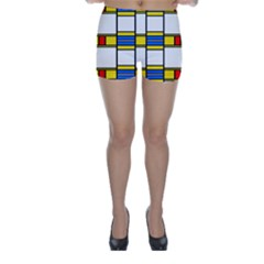 Colorful squares and rectangles pattern Skinny Shorts