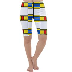 Colorful Squares And Rectangles Pattern Cropped Leggings