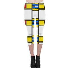 Colorful Squares And Rectangles Pattern Capri Leggings