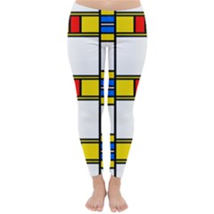 Colorful squares and rectangles pattern Winter Leggings