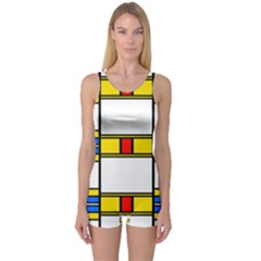 Colorful squares and rectangles pattern Women s Boyleg One Piece Swimsuit