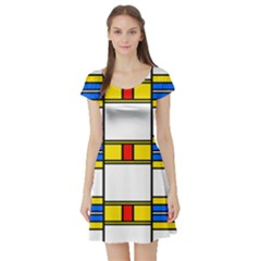 Colorful Squares And Rectangles Pattern Short Sleeve Skater Dress