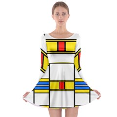 Colorful squares and rectangles pattern Long Sleeve Skater Dress