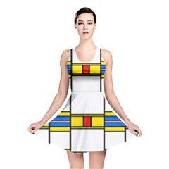Colorful squares and rectangles pattern Reversible Skater Dress