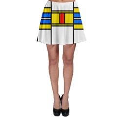 Colorful squares and rectangles pattern Skater Skirt