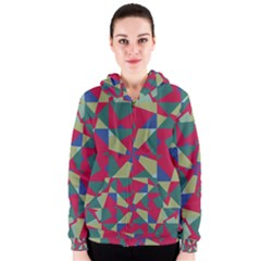 Shapes in squares pattern Women s Zipper Hoodie
