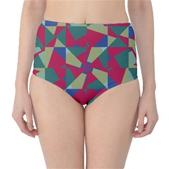 Shapes in squares pattern High-Waist Bikini Bottoms