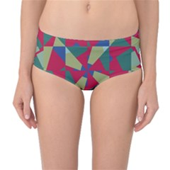 Shapes in squares pattern Mid-Waist Bikini Bottoms