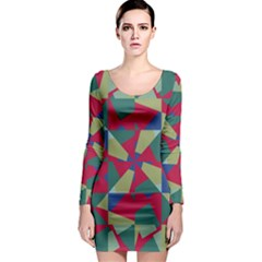 Shapes in squares pattern Long Sleeve Bodycon Dress