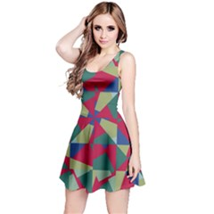 Shapes In Squares Pattern Sleeveless Dress