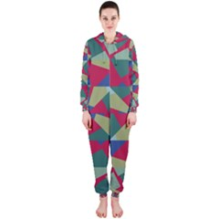 Shapes in squares pattern Hooded OnePiece Jumpsuit