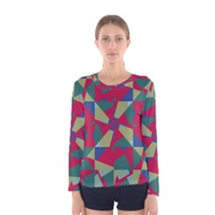 Shapes In Squares Pattern Women Long Sleeve T Shirt