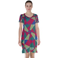 Shapes In Squares Pattern Short Sleeve Nightdress