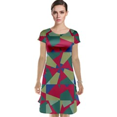 Shapes In Squares Pattern Cap Sleeve Nightdress
