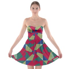 Shapes in squares pattern Strapless Bra Top Dress