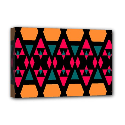 Rhombus And Other Shapes Pattern Deluxe Canvas 18  X 12  (stretched)