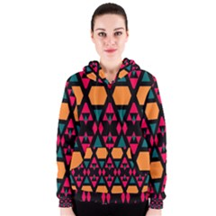 Rhombus and other shapes pattern Women s Zipper Hoodie