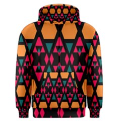 Rhombus And Other Shapes Pattern Men s Zipper Hoodie