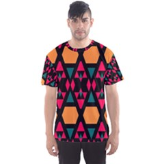 Rhombus and other shapes pattern Men s Sport Mesh Tee