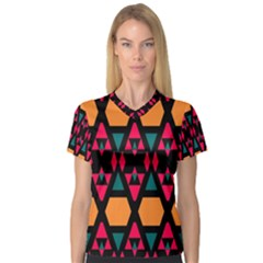 Rhombus and other shapes pattern Women s V-Neck Sport Mesh Tee