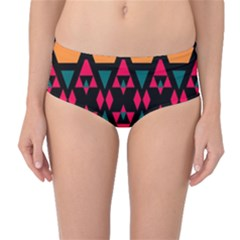 Rhombus And Other Shapes Pattern Mid Waist Bikini Bottoms