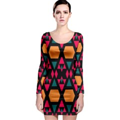 Rhombus And Other Shapes Pattern Long Sleeve Bodycon Dress