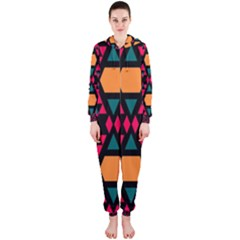 Rhombus and other shapes pattern Hooded OnePiece Jumpsuit