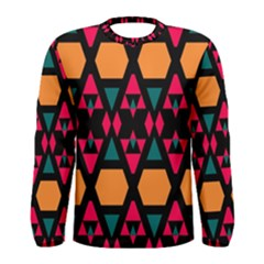 Rhombus and other shapes pattern Men Long Sleeve T-shirt