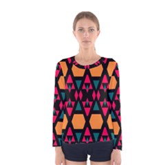 Rhombus and other shapes pattern Women Long Sleeve T-shirt