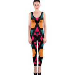 Rhombus and other shapes pattern OnePiece Catsuit