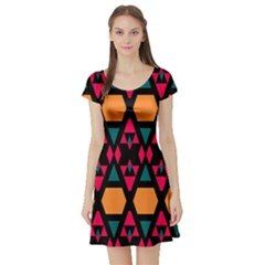 Rhombus And Other Shapes Pattern Short Sleeve Skater Dress