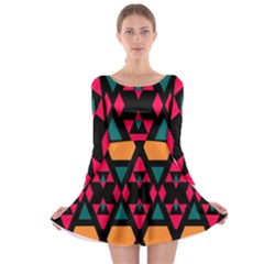 Rhombus and other shapes pattern Long Sleeve Skater Dress