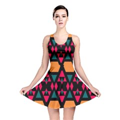 Rhombus And Other Shapes Pattern Reversible Skater Dress