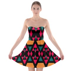 Rhombus and other shapes pattern Strapless Bra Top Dress
