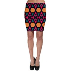 Rhombus and other shapes pattern Bodycon Skirt