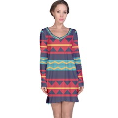 Rhombus and waves chains pattern nightdress