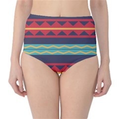 Rhombus and waves chains pattern High-Waist Bikini Bottoms