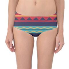 Rhombus and waves chains pattern Mid-Waist Bikini Bottoms
