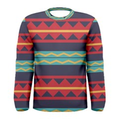 Rhombus and waves chains pattern Men Long Sleeve T-shirt