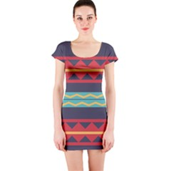 Rhombus and waves chains pattern Short sleeve Bodycon dress