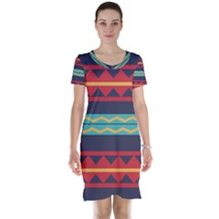 Rhombus and waves chains pattern Short Sleeve Nightdress