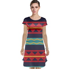 Rhombus and waves chains pattern Cap Sleeve Nightdress