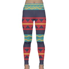 Rhombus And Waves Chains Pattern Yoga Leggings