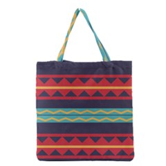Rhombus And Waves Chains Pattern Grocery Tote Bag