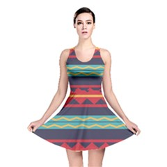 Rhombus And Waves Chains Pattern Reversible Skater Dress