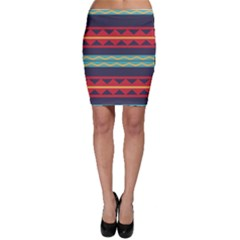 Rhombus and waves chains pattern Bodycon Skirt