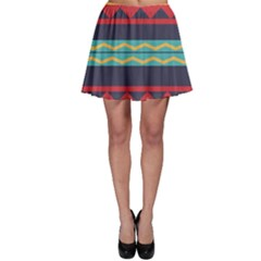 Rhombus and waves chains pattern Skater Skirt