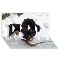 Black Tri English Cocker Spaniel In Snow MOM 3D Greeting Card (8x4)