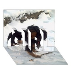 Black Tri English Cocker Spaniel In Snow GIRL 3D Greeting Card (7x5)